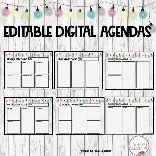 Editable Digital Agenda for Distance Learning