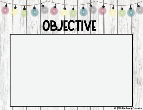 Editable Shiplap & Porch Lights Objectives Posters Signs