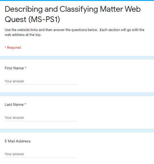Classifying Matter Web Quest (MS-PS1) (GREAT SUB PLANS or DISTANCE LEARNING!)
