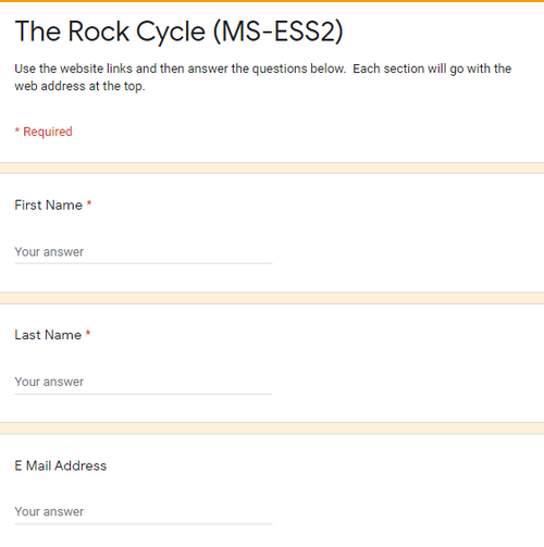 The Rock Cycle Web Quest (MS-ESS2) (GREAT SUB PLANS or DISTANCE LEARNING!)