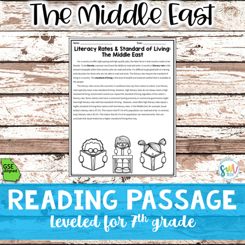 Literacy Rates & Standards of Living for The Middle East (SS7E6, SS7E6a)