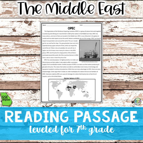 Role of Oil Distribution in the Middle East Reading (SS7E6, SS7E6d)