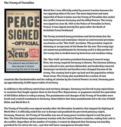 Treaty of Versailles Reading and Worksheet