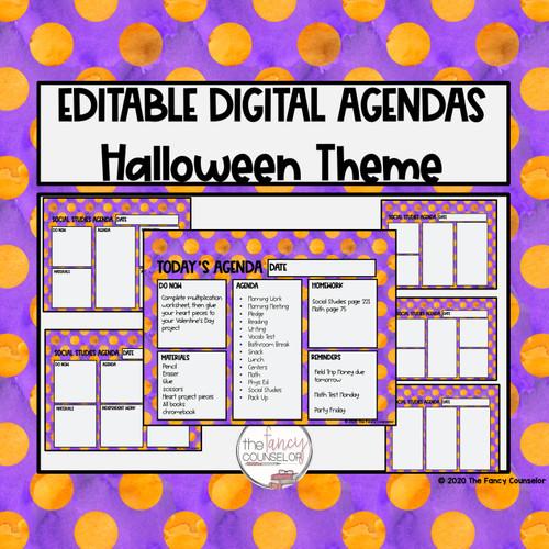 Editable Digital Daily Agendas Halloween fall Autumn Theme