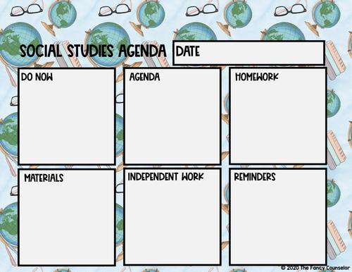Distance Learning Google Slides Editable Daily Agendas Back to School Globe