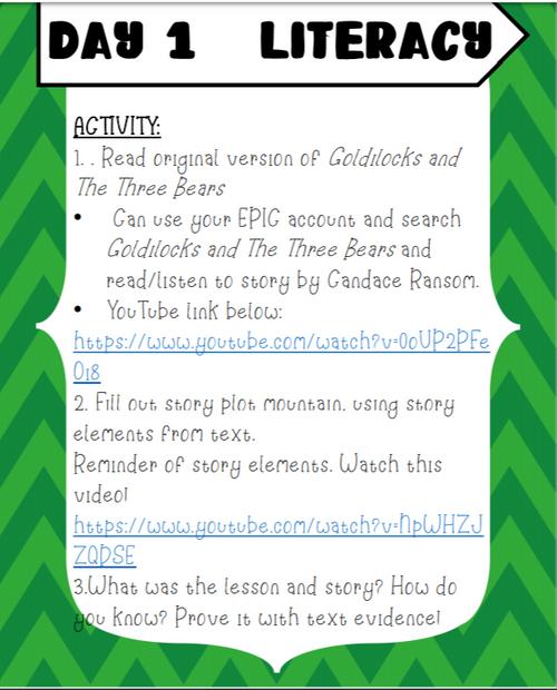 3rd Grade Literacy Activities Week 1
