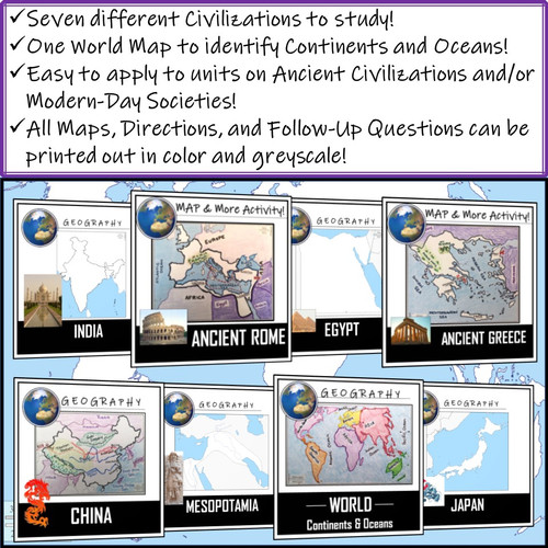 Maps of the World: Color and Labeling Activities! Distance Learning (Google Compatible)