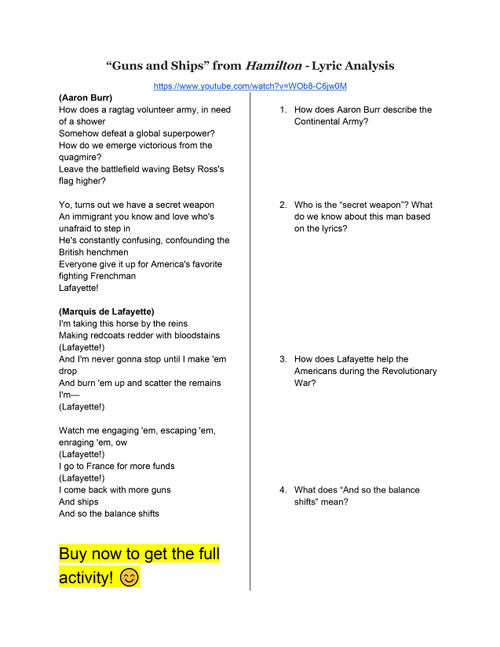 """Guns and Ships"" Lyric Analysis"
