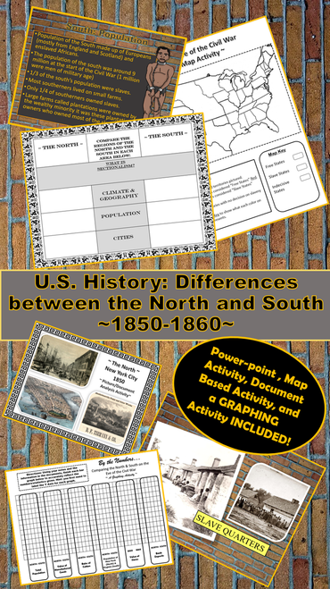 Civil War: Comparing the North/South 1850-60 ~Activities~ | Distance Learning