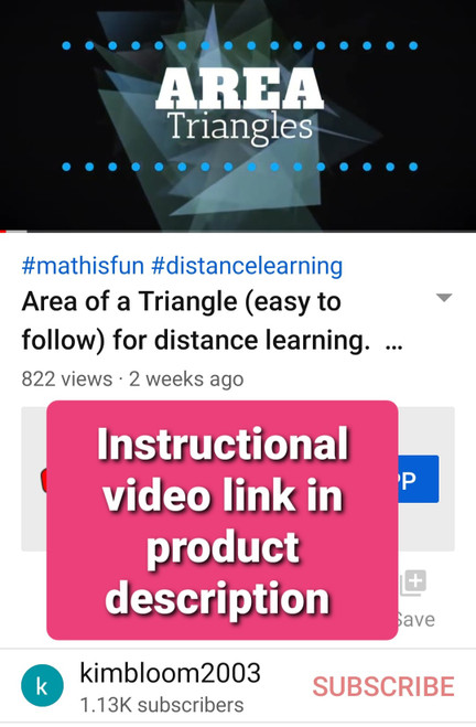 Area of a Triangle instructional video & editable notes - FREE