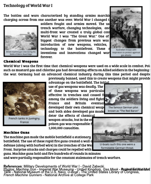 Technology of World War I Reading and Worksheet