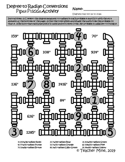 Degree to Radian Conversions - Pipes Puzzle Activity