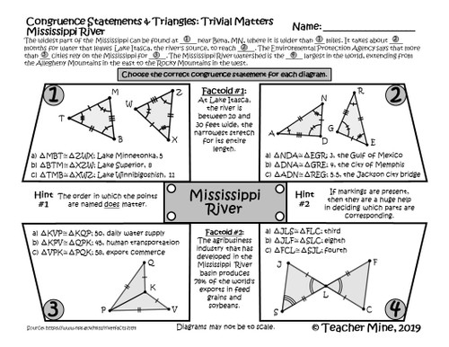 Congruence Statements & Triangles - Mississippi River - Trivial Matters Activity