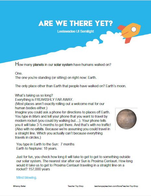 Space Worksheet about Distances in Outer Space