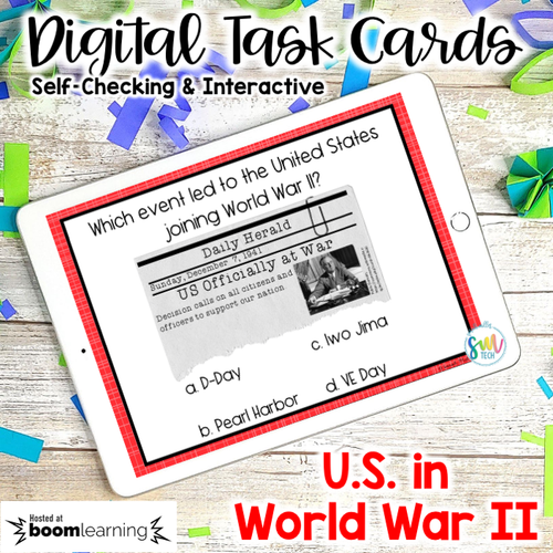 America in World War 2 DIGITAL Task Cards   DISTANCE LEARNING   SS5H4
