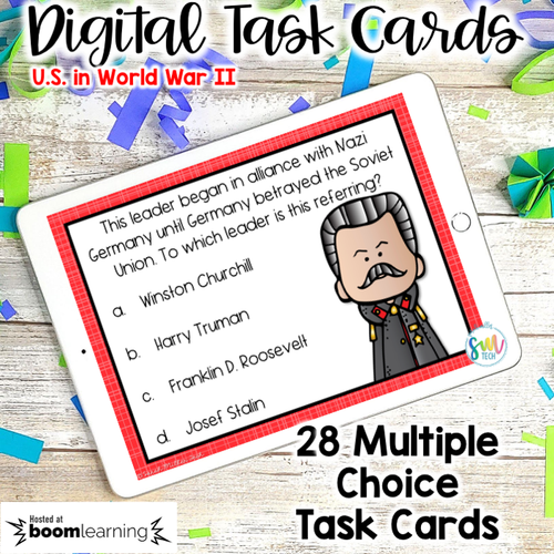 America in World War 2 DIGITAL Task Cards | DISTANCE LEARNING | SS5H4