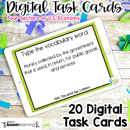 Sectors of U.S. Economy DIGITAL Task Cards | Boom Cards | DISTANCE LEARNING