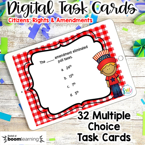 Citizen's Rights & Amendments DIGITAL Task Cards | Boom Cards | DISTANCE LEARNING
