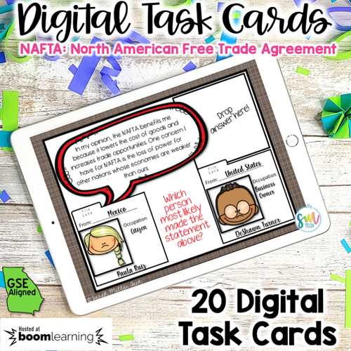 NAFTA DIGITAL Task Cards | DISTANCE LEARNING | SS6E2d