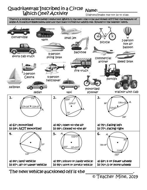 Quadrilaterals Inscribed in a Circle - Which One? Activity
