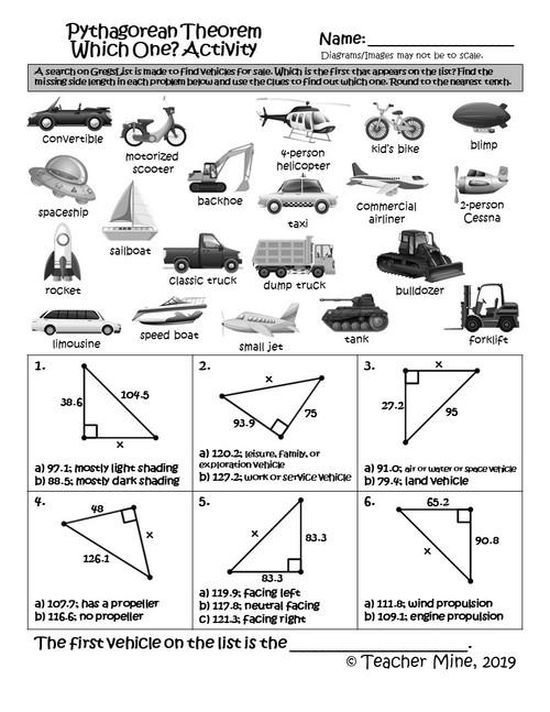 Pythagorean Theorem - Which One? Activity
