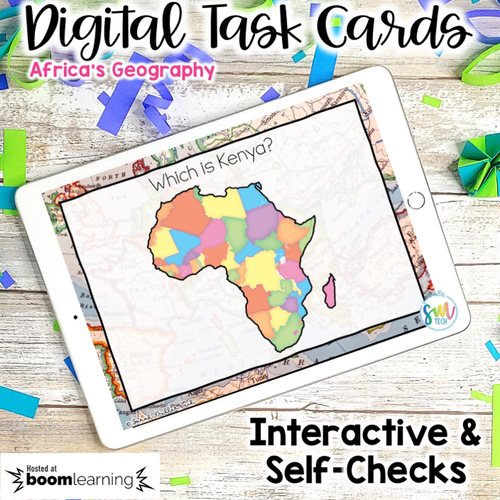Geography in Africa DIGITAL Task Cards SS7G1, SS7G1a, SS7G1 | DISTANCE LEARNING
