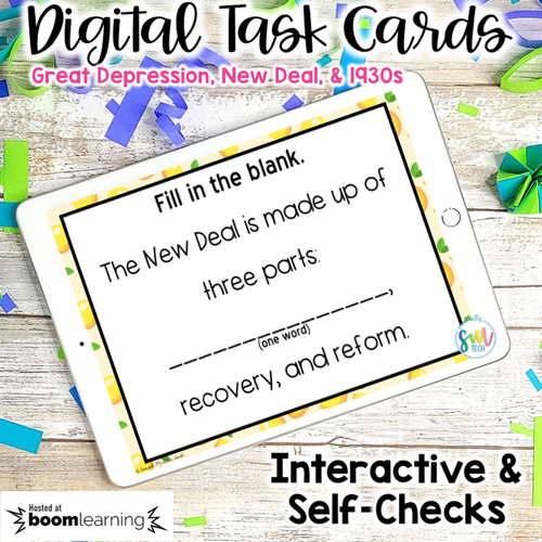 Great Depression & New Deal DIGITAL Task Cards | DISTANCE LEARNING | SS5H3