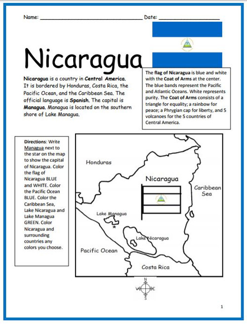 Color and Learn Geography - Nicaragua