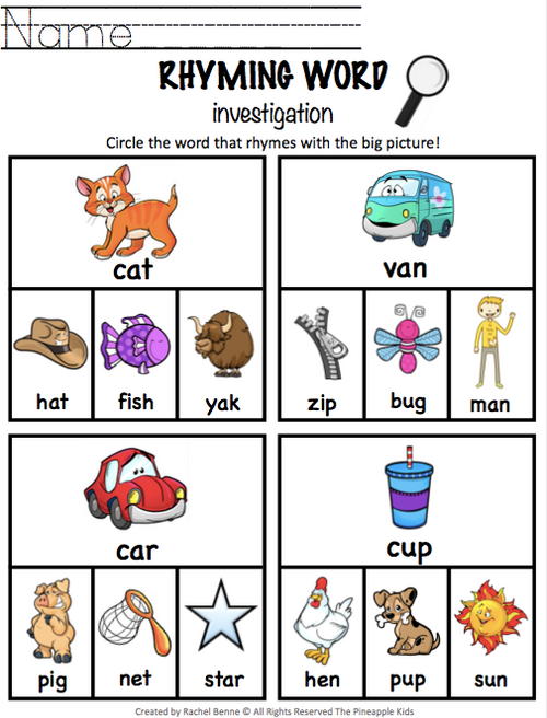 Rhyming Words   Matching Activities