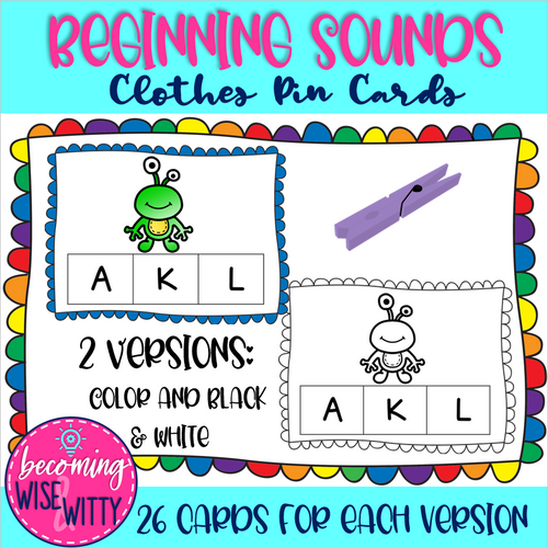 Beginning Sounds Clothes Pin Cards!