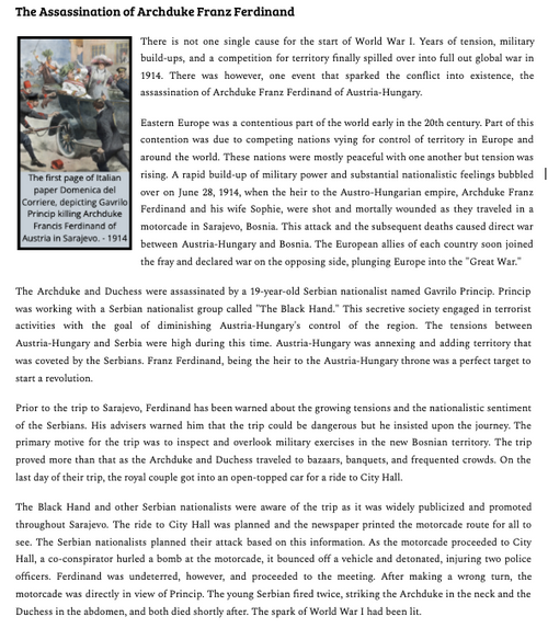 The Assassination of Archduke Franz Ferdinand Reading and Worksheet
