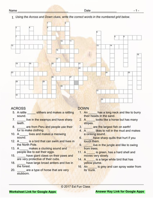 Animals Interactive Crossword Puzzle for Google Apps LINKS