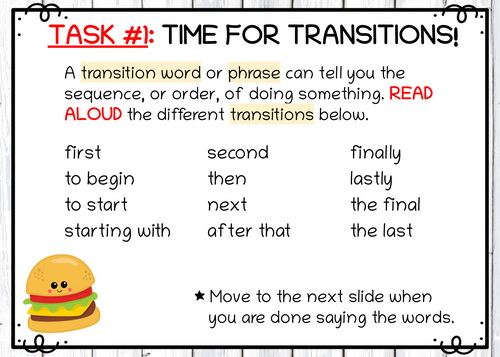 Digital Interactive Task - Working with Transitions for Writing (Google Classroom)