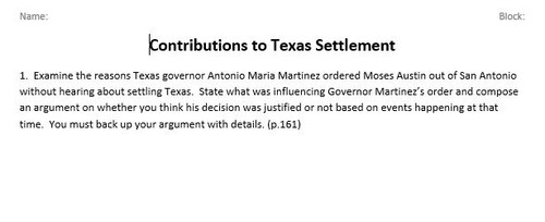 Contributions to Settlement of Texas