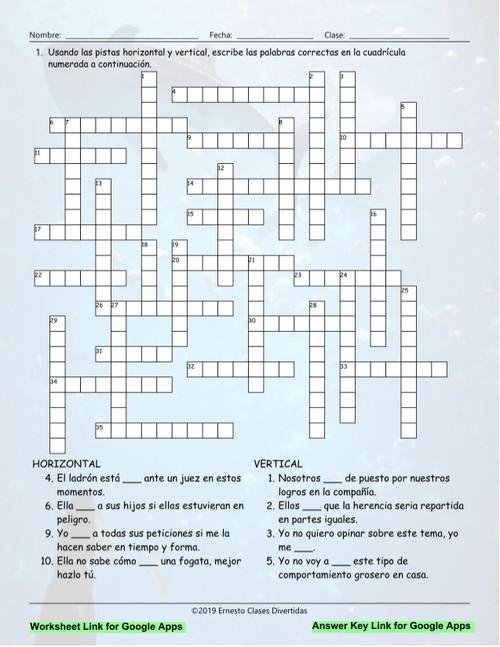 Past and present crossword