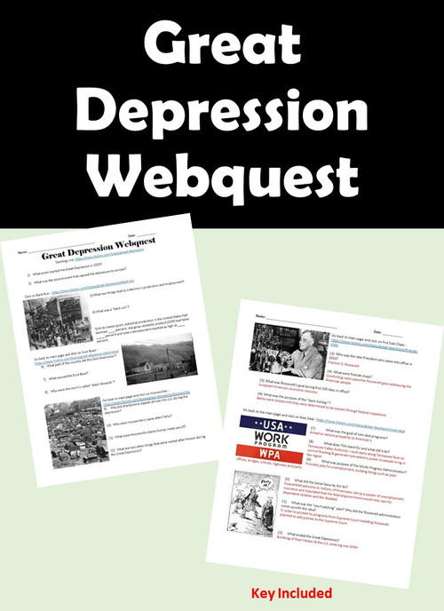 Great Depression Webquest - KEY Included - Amped Up Learning