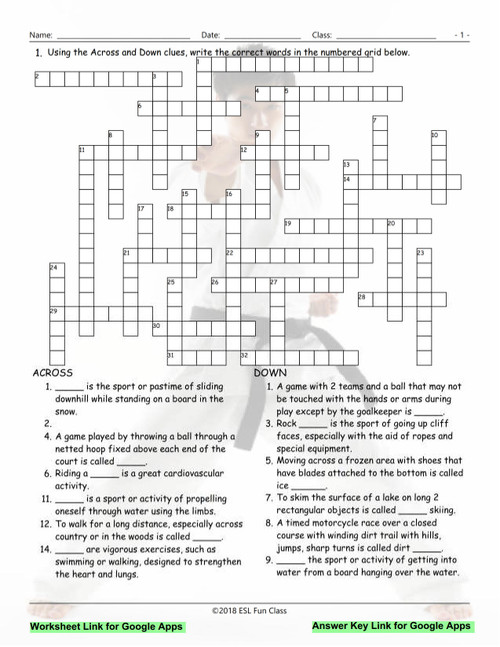 Sports Interactive Crossword Puzzle For Google Apps Links Amped Up Learning