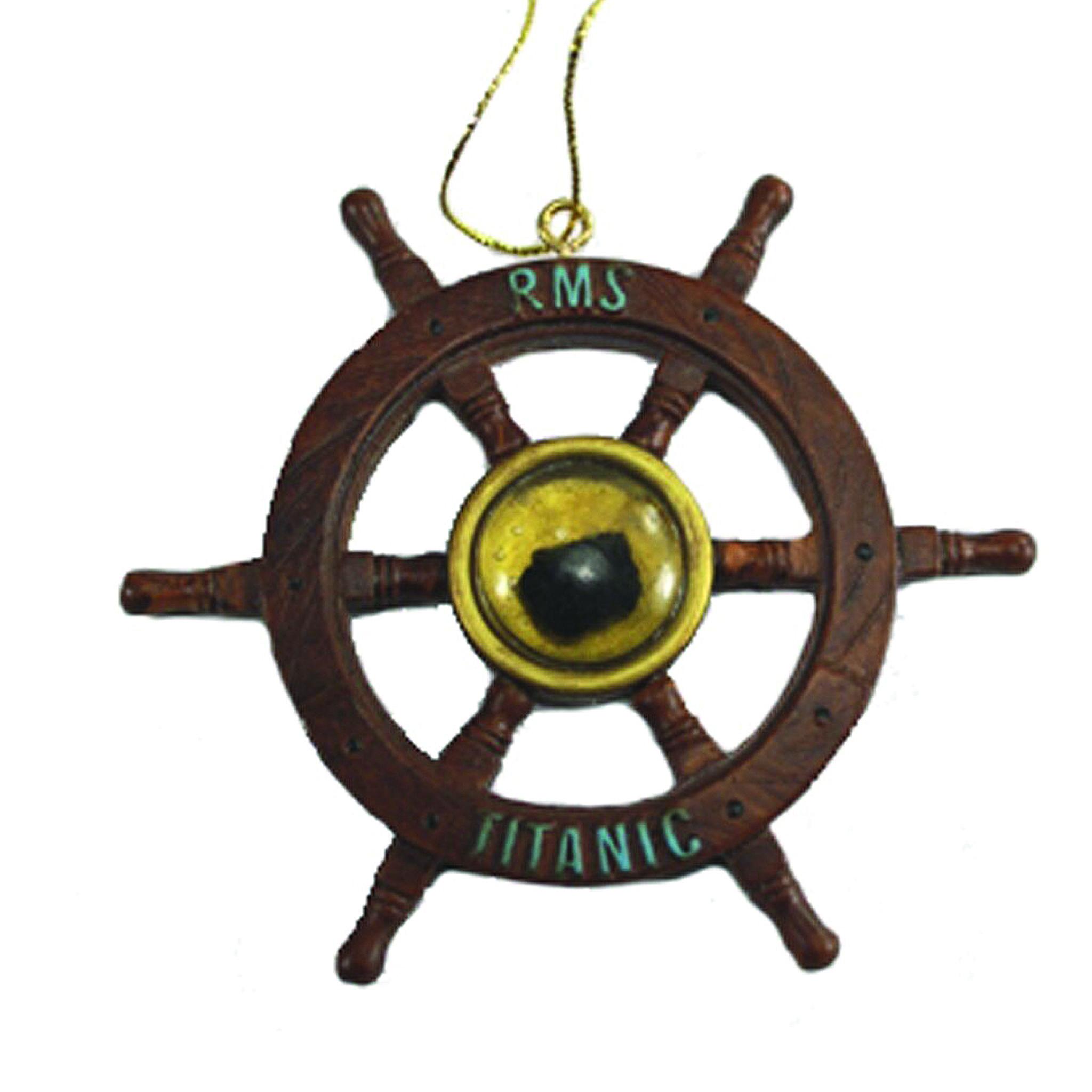 Coal Ship's Wheel Ornament