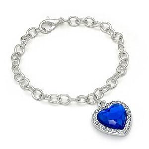 Bracelet lg link w/hang heart