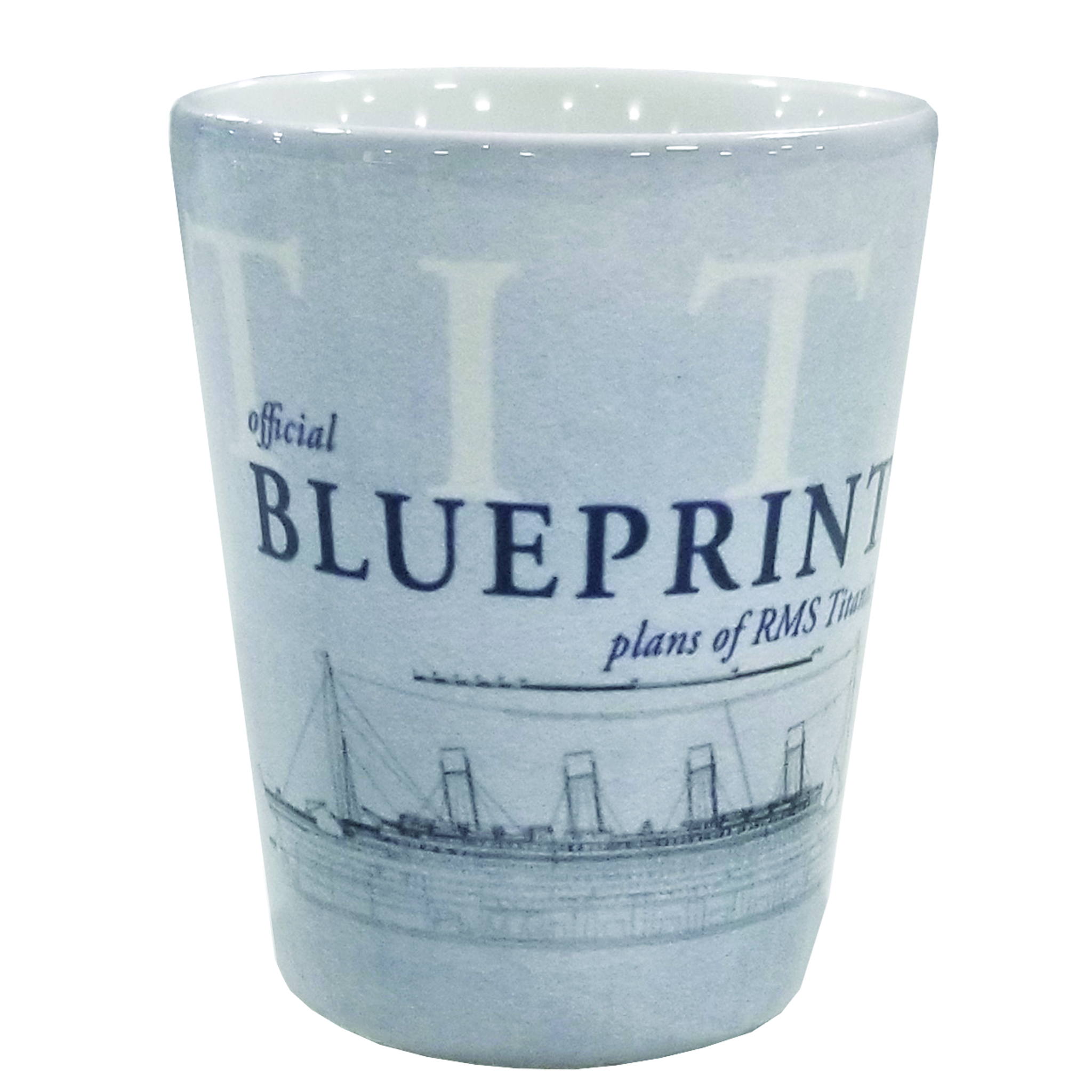 Blue print ceramic shotglass