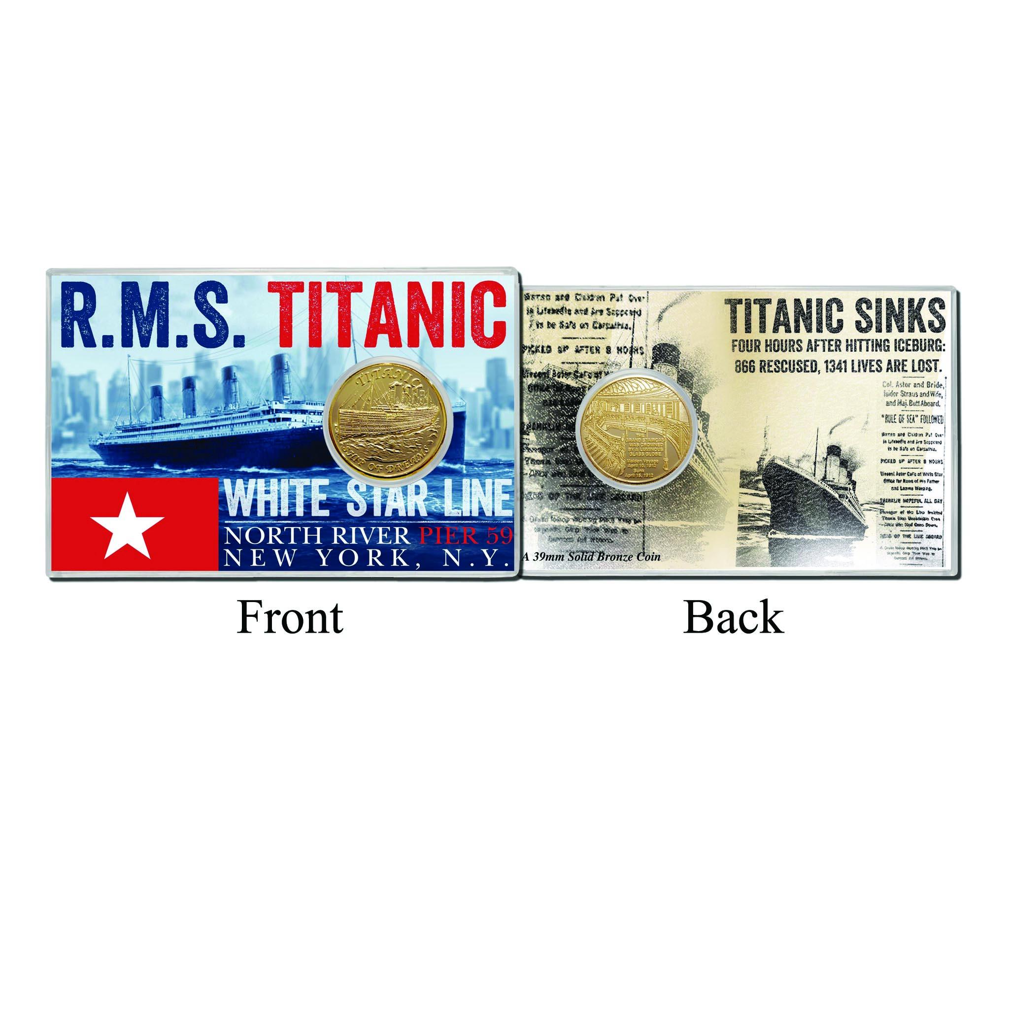 Titanic Sinks Acrylic w/Minted Coin Card 4 x 6  Bullion Bronze