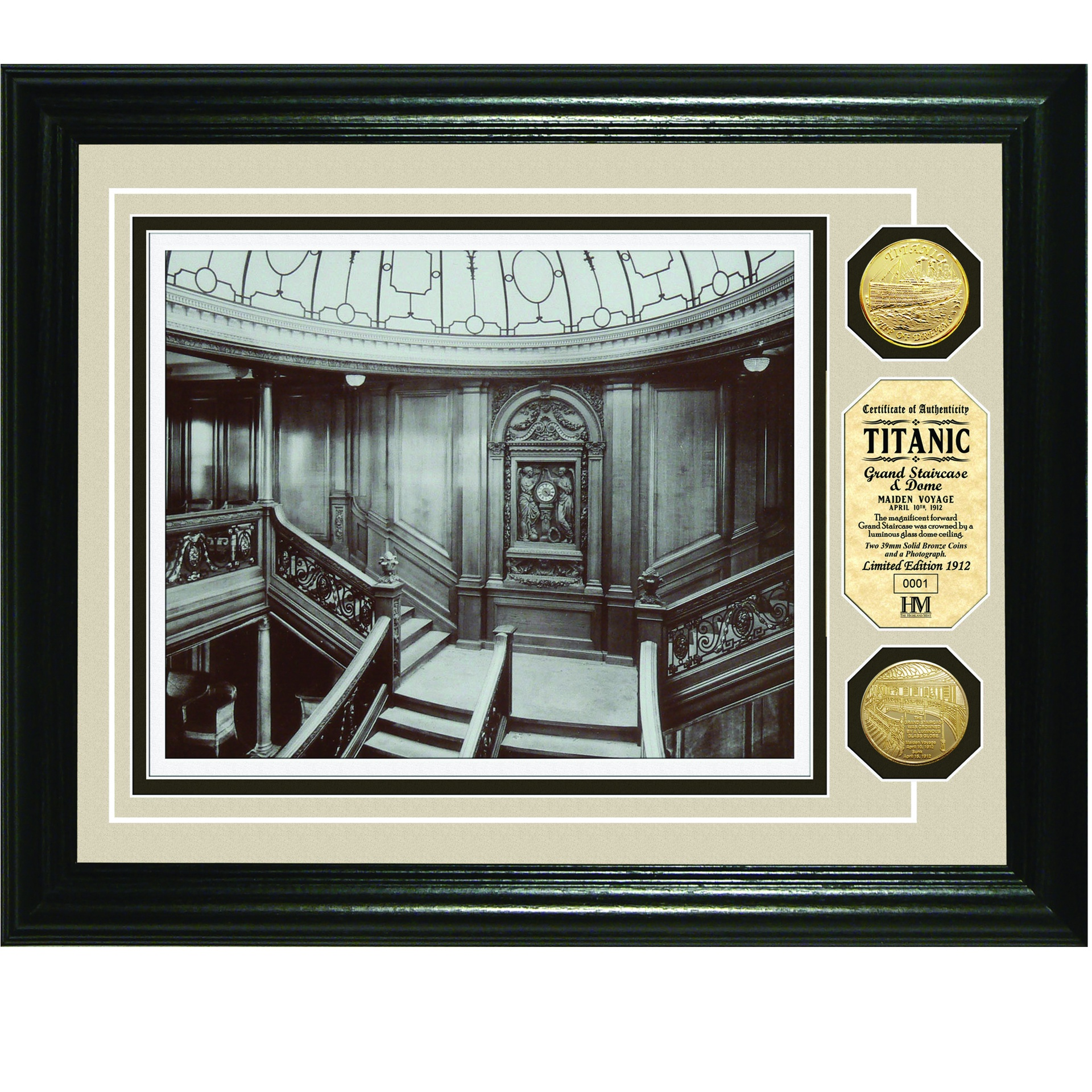 13 x 16 Framed Grand Staircase w/Gold Tone Medallions