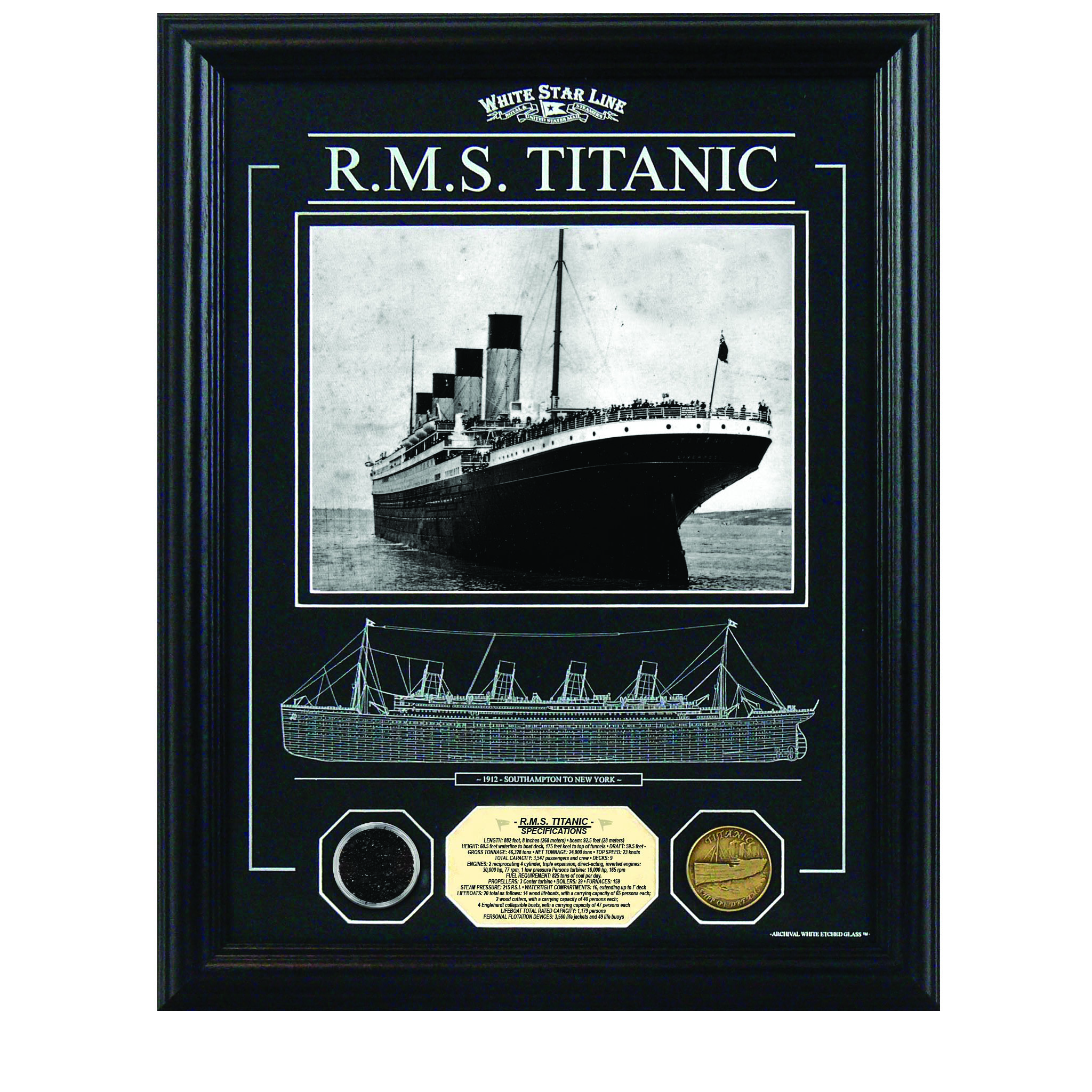 14 x 18 Framed RMS Titanic Etched Glass w/Coal and Gold Medallion