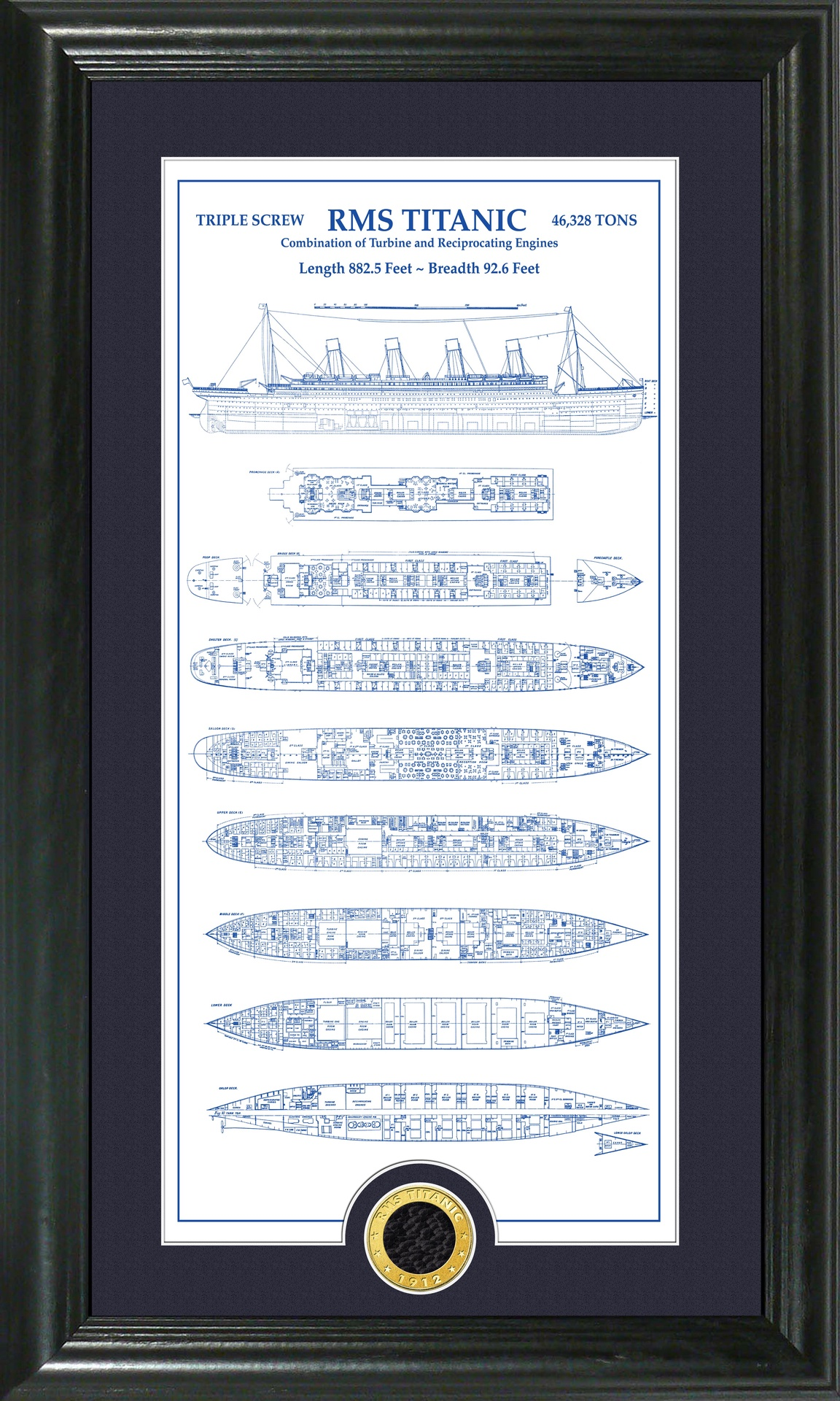 Photo Mint 12 x 20 Framed RMS Titanic Blue Print w/Coal