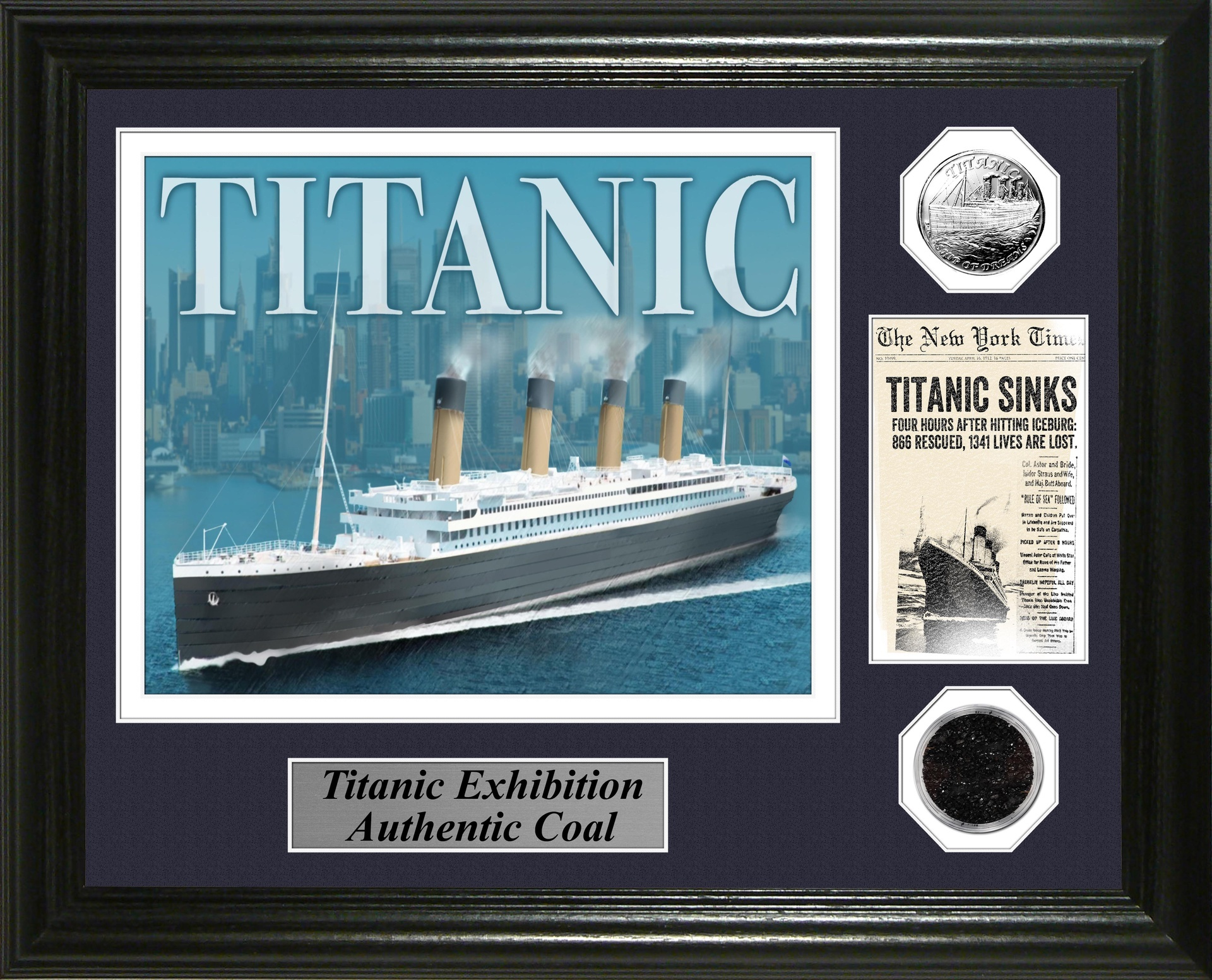 Titanic Exhibition 13 x 16 Framed w/Coal/Silver Coin