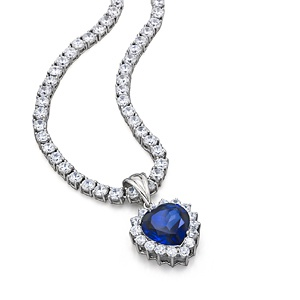 Neck. Blue Heart sapp/cz