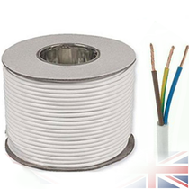 White 2183Y 3 Core 0.75mm 6 Amp PCV Round Flexible Electrical Cable Wire(Price per Metre)