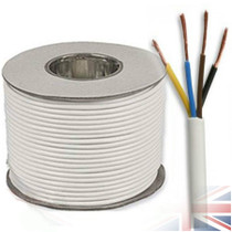 100m Reel White 3184Y 1.0mm 4 Core Round PVC Flexible Cable Wire