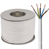 100m Reel White 3185Y 0.75mm 5 Core Round PVC Flexible Cable Wire