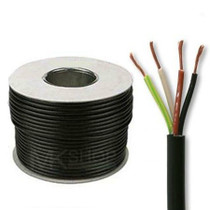 50m Reel Black 3184Y 0.75mm 4 Core Round PVC Flexible Cable Wire